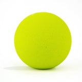 Neon green bath bomb without packaging on white background and scented as kiwi berry.