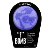 "Light and dark purple ""F"" Bomb with a surprise inside, scented as lavender."