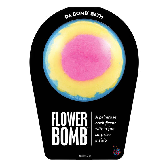Flower looking bath bomb called Flower Bomb with a surprise inside, scented as primrose.