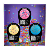Sleepover Box with party bomb, candy bomb, and bling bomb.