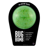 Green Bug Bomb with sugar sprinkles in black packaging, scented as eucalyptus.