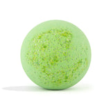 Green Bug Bomb with sugar sprinkles on white background without packaging, scented as eucalyptus.