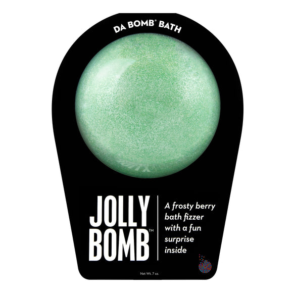 Green bath bomb with mica that is scented as pomegranate with a fun surprise inside. Bath bomb is in black packaging.