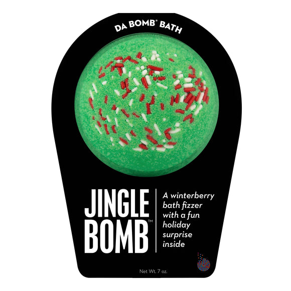 Green with red and white sprinkle Jingle Bomb with a surprise inside scented as winterberry.