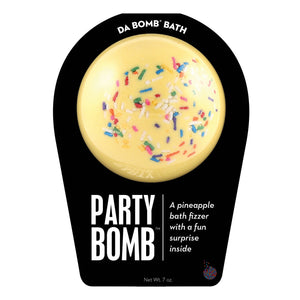 Yellow with multi-color sprinkle Party Bomb with a surprise inside, scented as pineapple.
