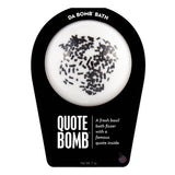 White with black sprinkle Quote Bomb with a surprise inside, scented as fresh basil in black packaging..