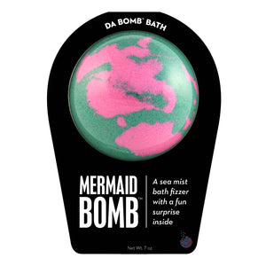 Teal green with pink swirl bath bomb, scented as sea mist, in signature black packaging. Bath bomb contains a fun surprise inside.