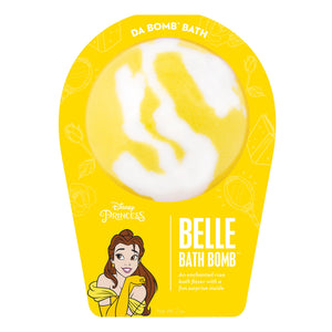 White with yellow swirl bath bomb scented as enchanted rose in yellow Disney Princess Belle packaging.