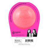 Back of the Neon pink bath bomb in packaging. Bath bomb is neon pink on the back.