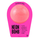 Neon pink bath bomb scented as pink grapefruit in neon pink packaging.