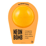 Neon orange bath bomb scented as tangerine in neon orange packaging.