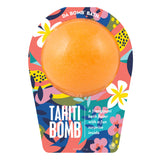Orange Tahiti Bomb with a surprise inside, scented as frangipani in travel themed packaging.