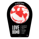 White and red Love Bomb with a surprise inside, scented as gardenia.