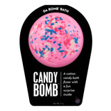 Pink with multi-color sprinkle Candy Bomb with a surprise inside, scented as cotton candy.