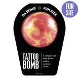 Red and yellow Tattoo Bomb with a surprise inside, scented as sandalwood.