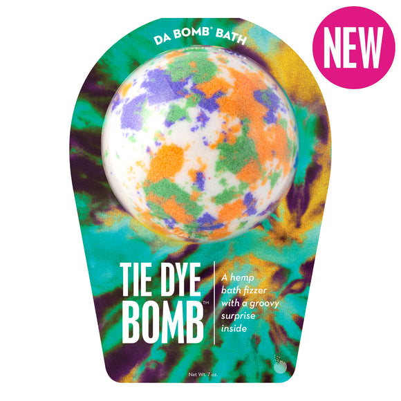 White with orange, green and purple splotches bath bomb, with a surprise inside, scented as hemp in tie dye packaging.