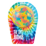 Yellow with red and blue splotches bath bomb, with a surprise inside, scented as passion fruit in tie dye packaging.