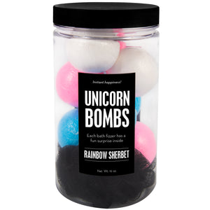 Unicorn Bombs Jar with blue, pink and white mini bath bombs and a black loofah, scented as rainbow sherbet.