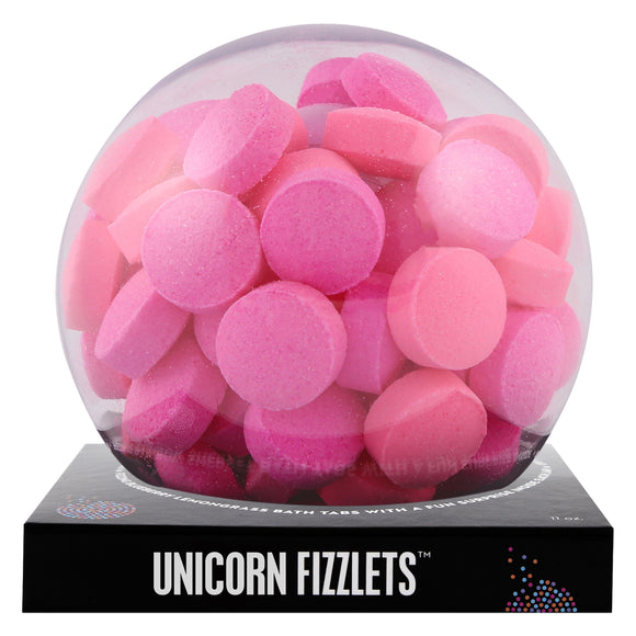 Pink Unicorn Fizzlets with a surprise inside, scented as rainbow sherbet.