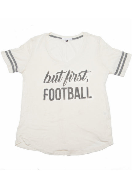 But First, Football Tee- Grey