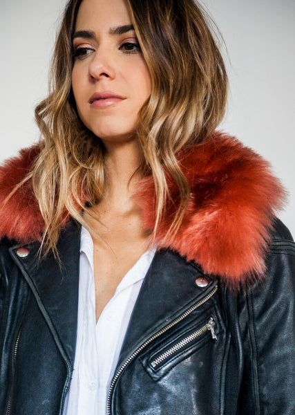 Pink + Rust Faux Fur Collar- SHORT