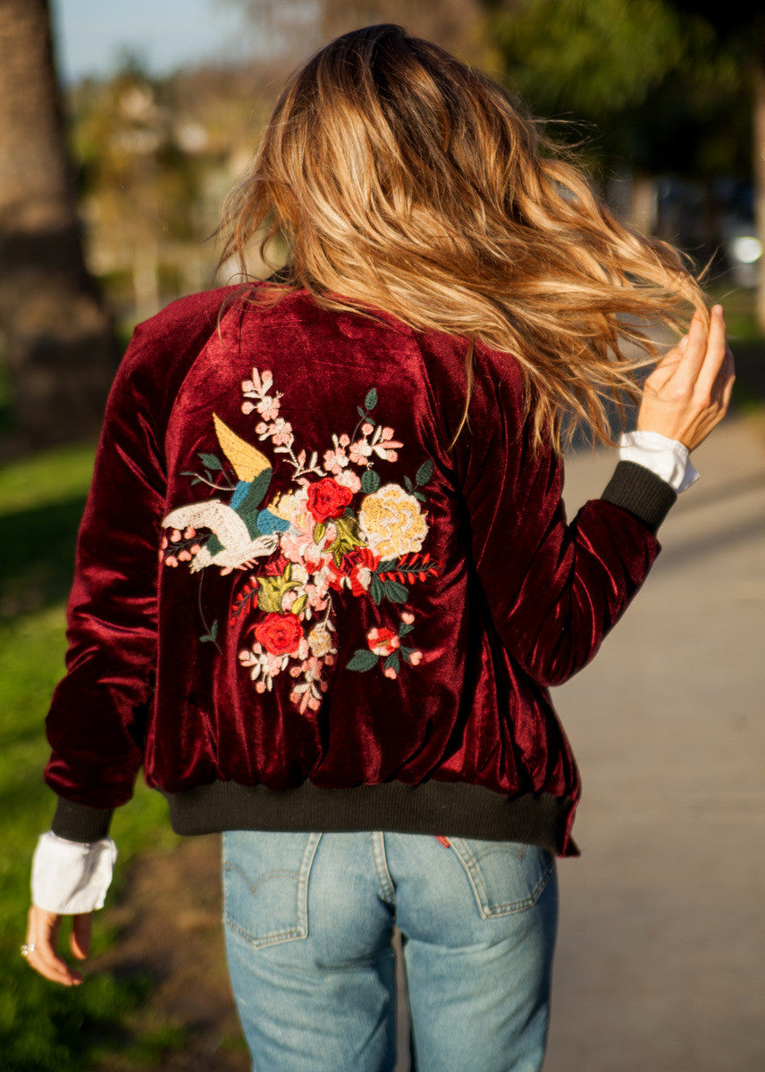 Double Embroidered Velvet Bomber