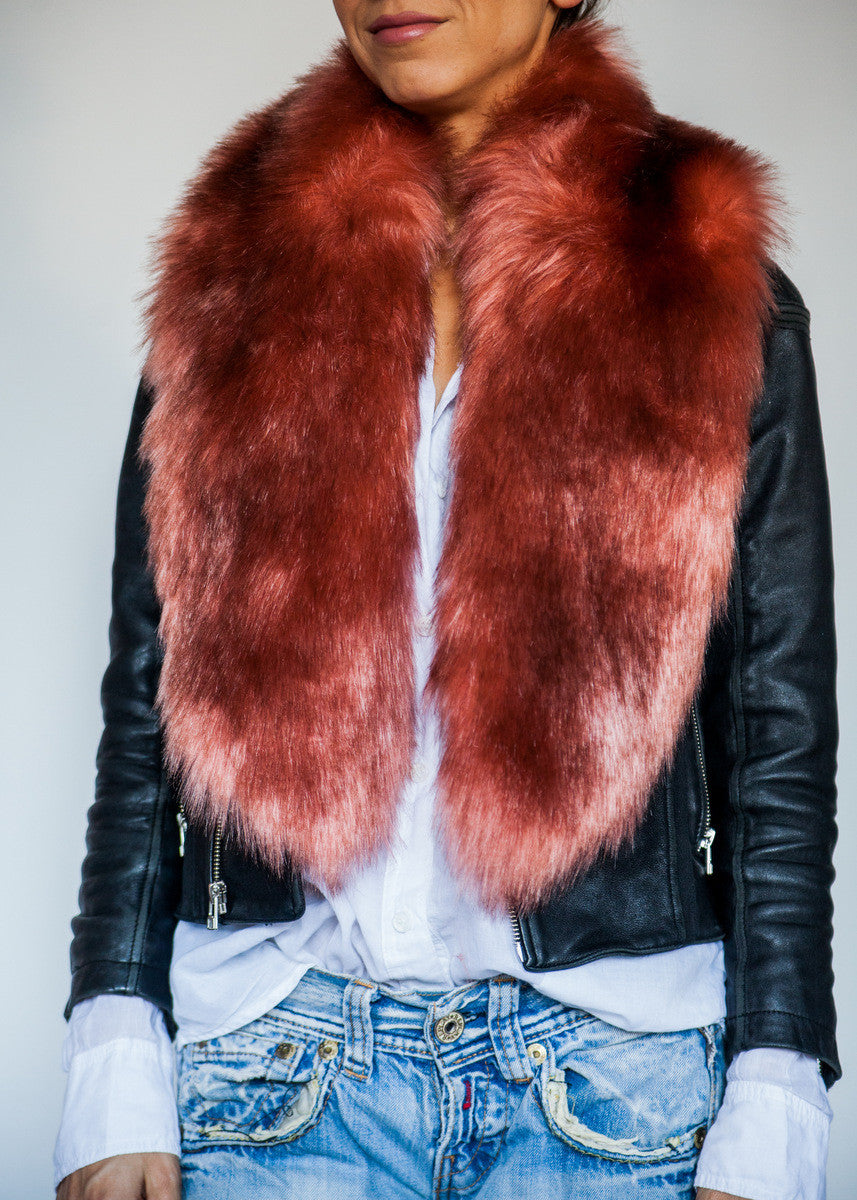 Pink + Rust Faux Fur Collar- LONG
