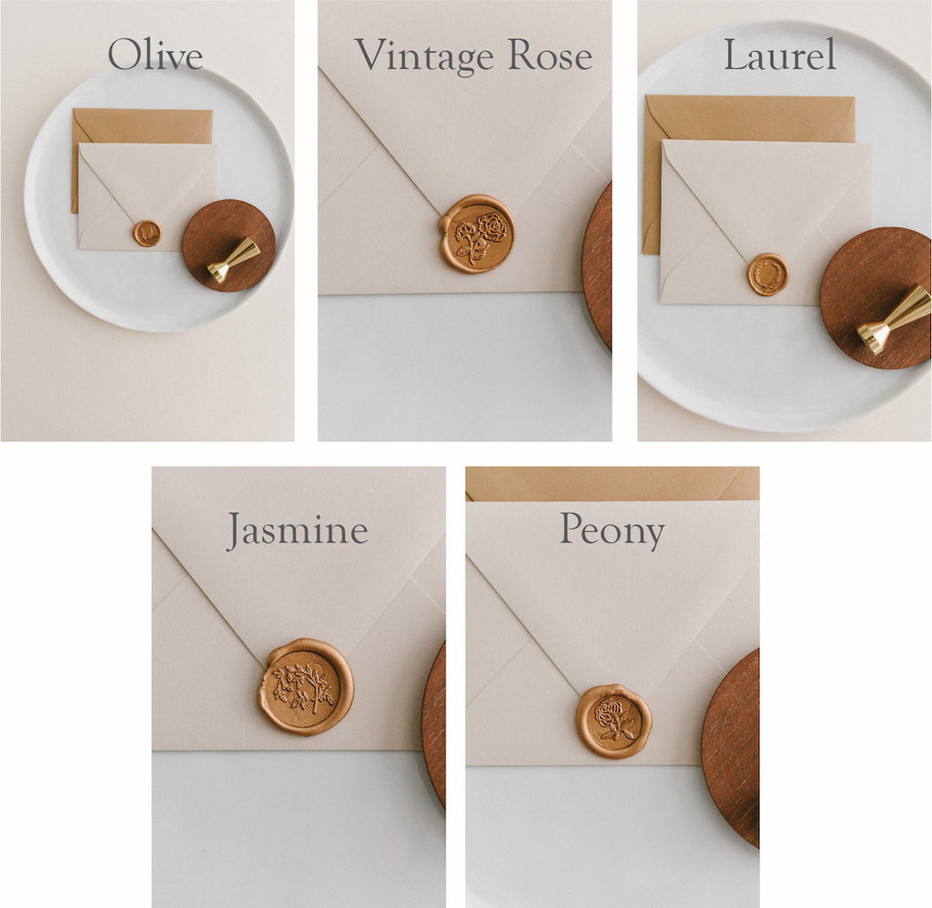 written word calligraphy, wax seal set, handmade invitations