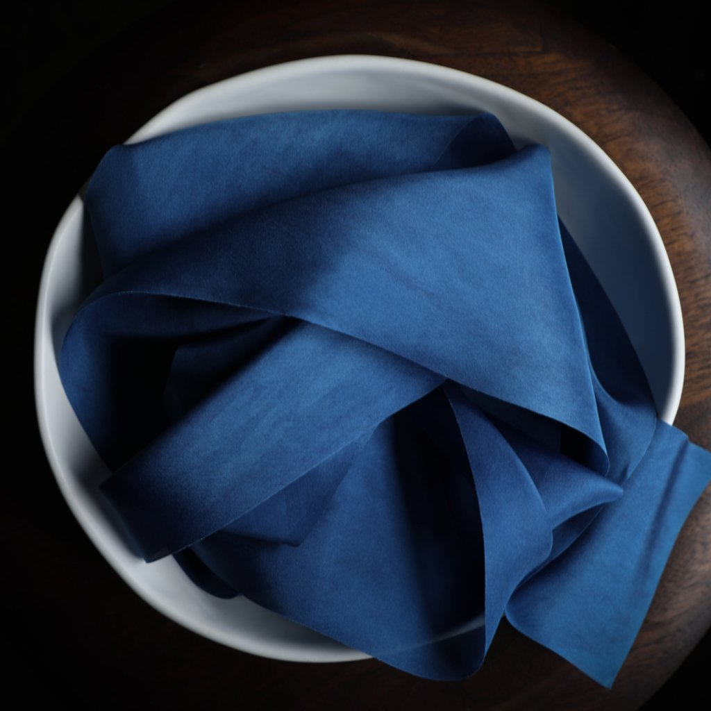 Cobalt Blue ribbon, Blue wedding colors, Silk & Willow bouquet silk ribbon. Plant dyed silk ribbon. luxe wedding.