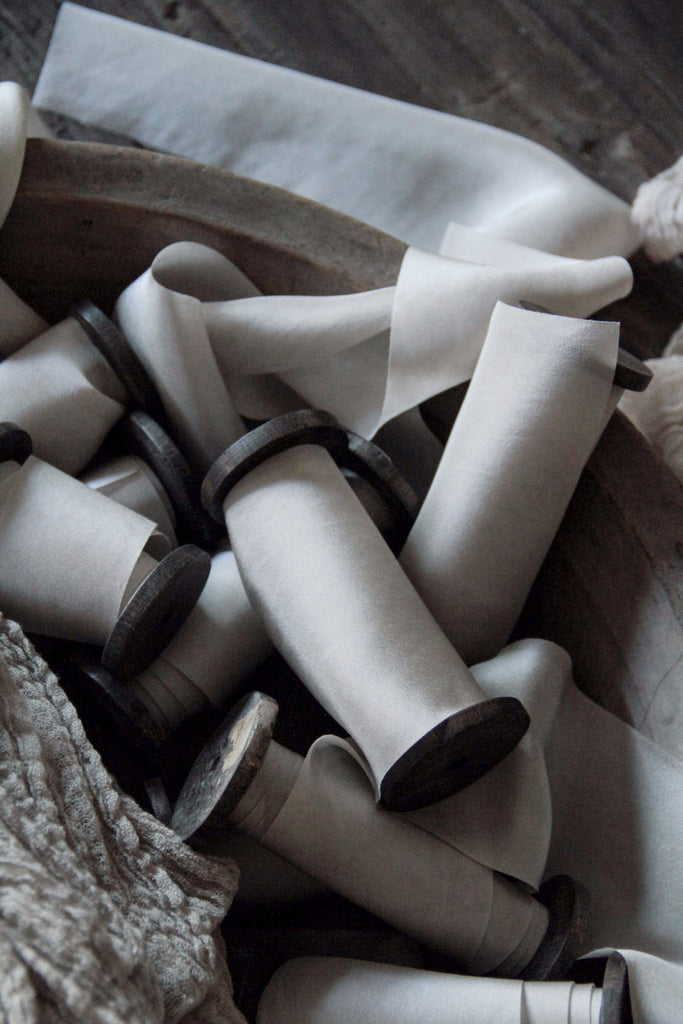 Silk & Willow bouquet silk ribbon. Plant dyed silk ribbon. luxe wedding. Satin Silk. Antique White.