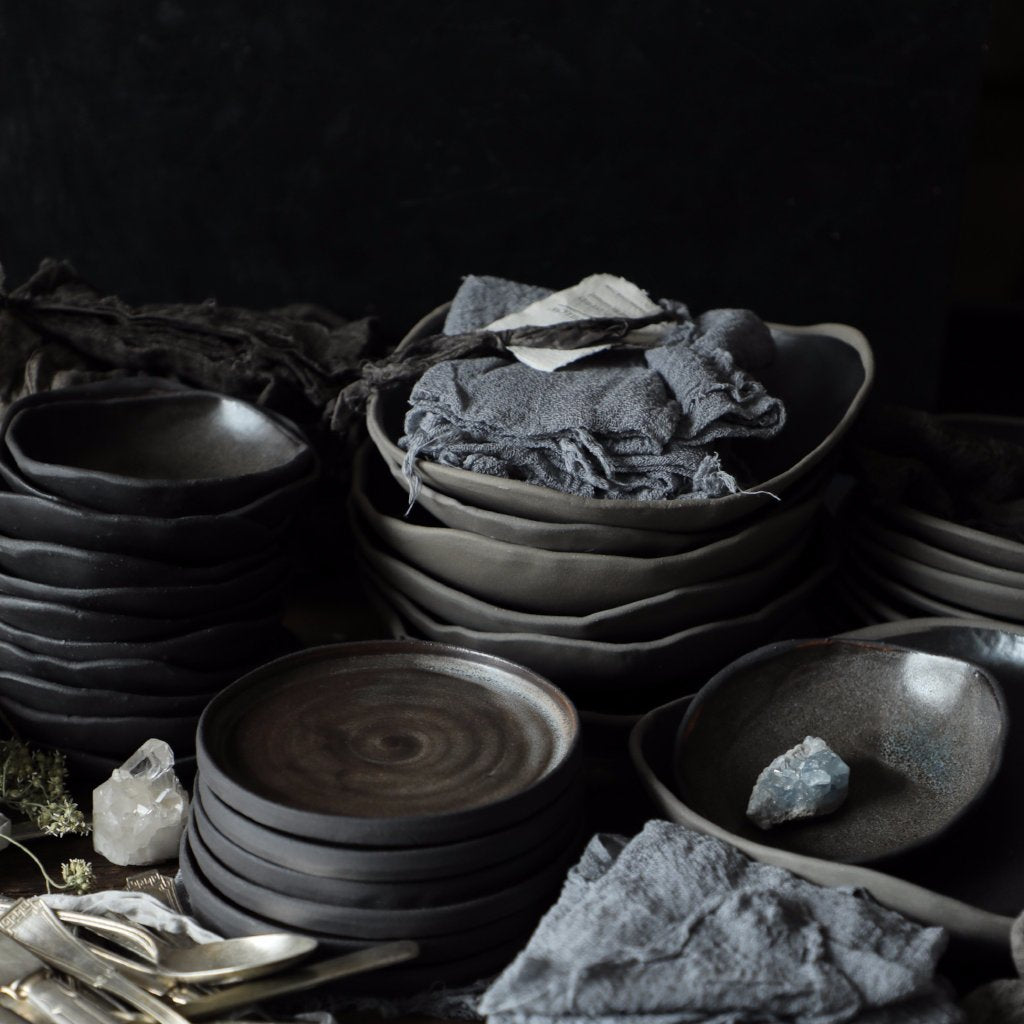 handmade ceramics, food styling, kitchen, tableware, matte black, silk and willow,