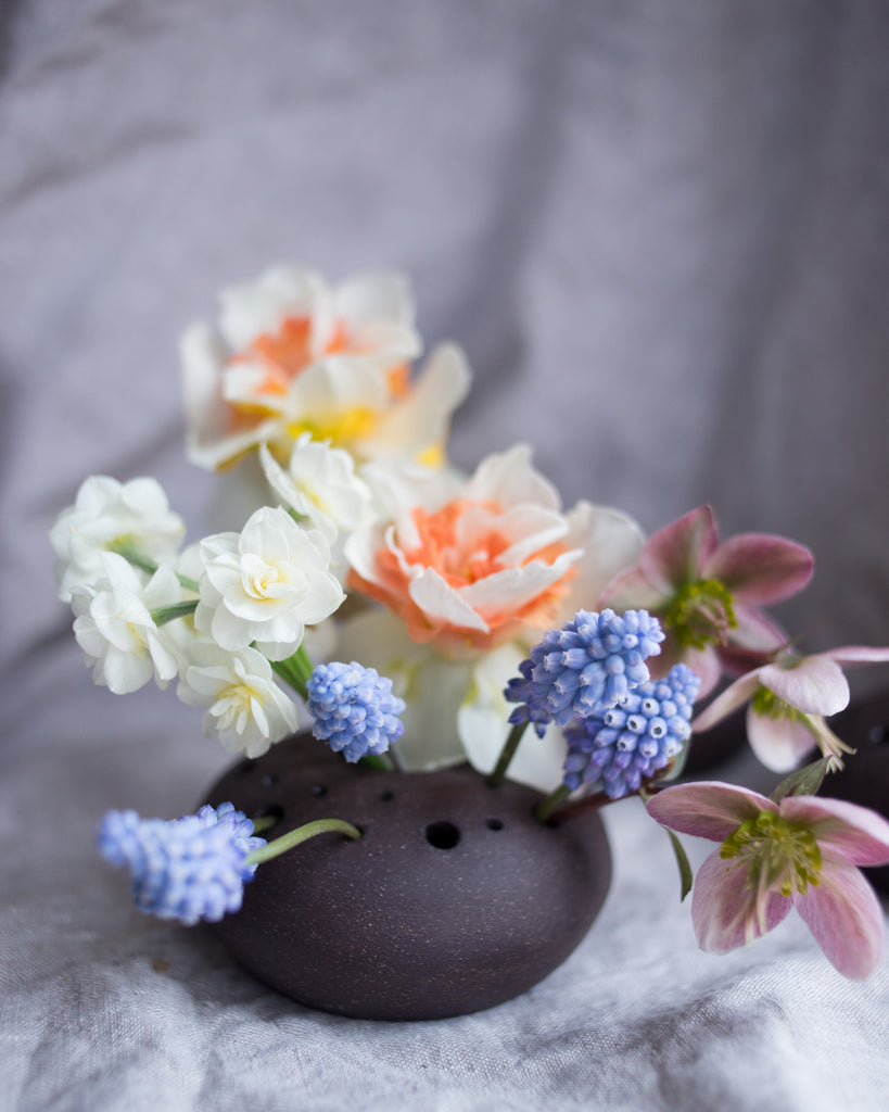 Chocolate Ceramic Flower Frog