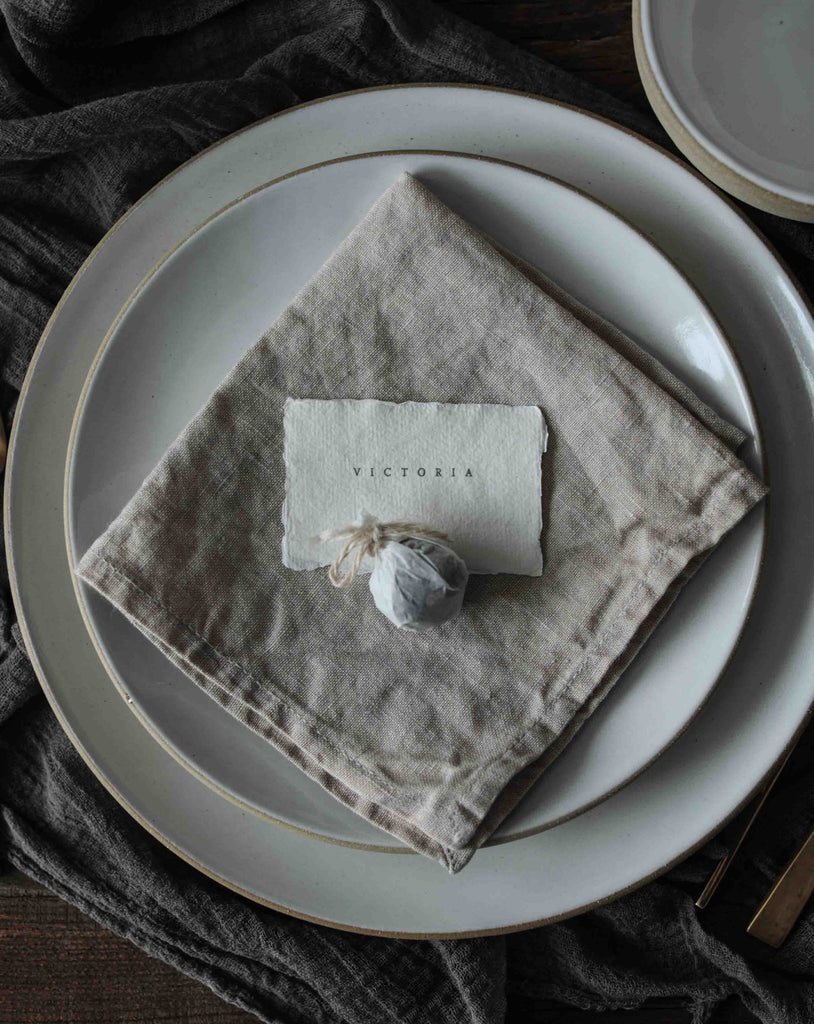 Natural Linen Napkins / Finished Edge {Linen}