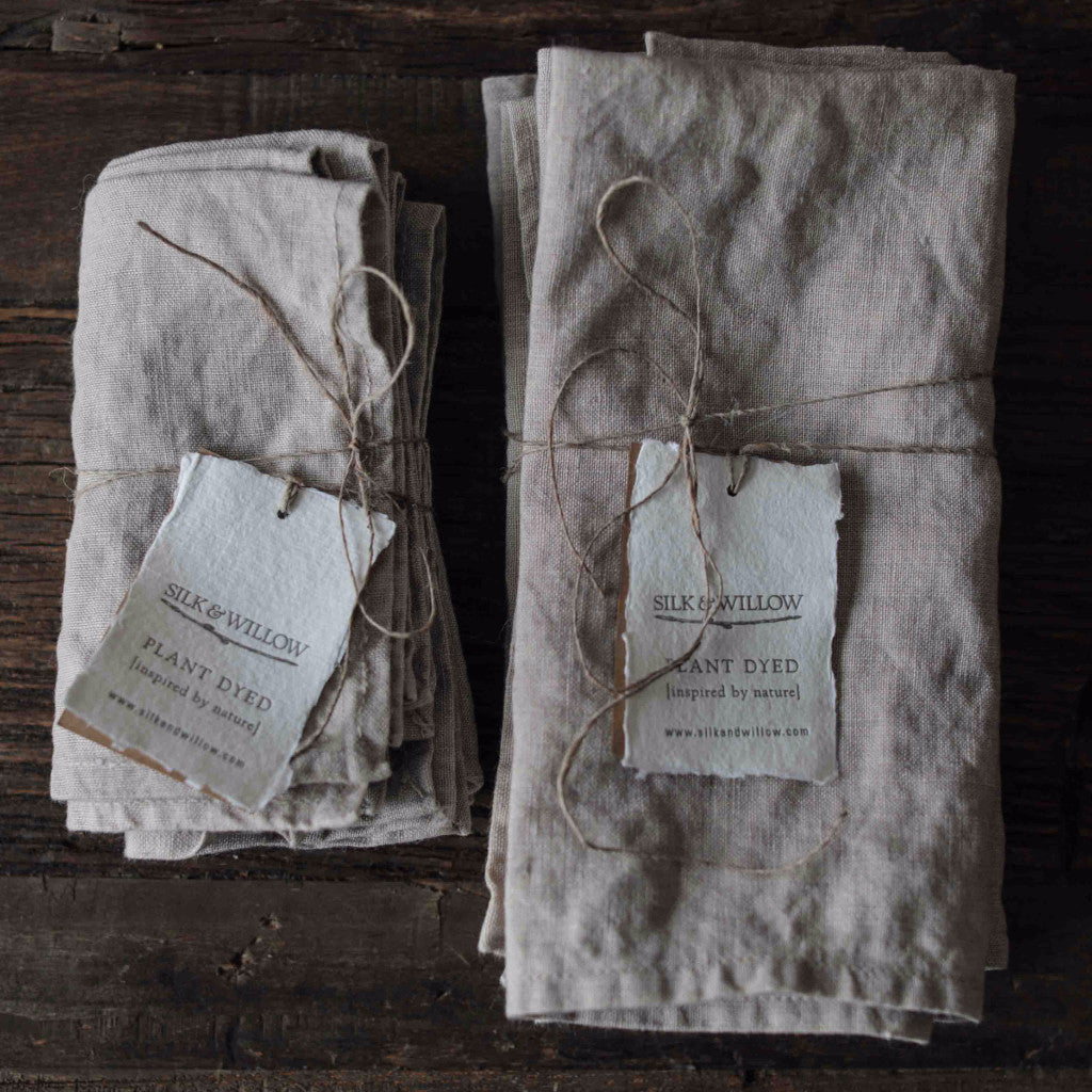 Linen, Natural linen, Silk & Willow plant dyed table linens. Napkins, organic cotton napkins. natural cotton napkins. Table setting.
