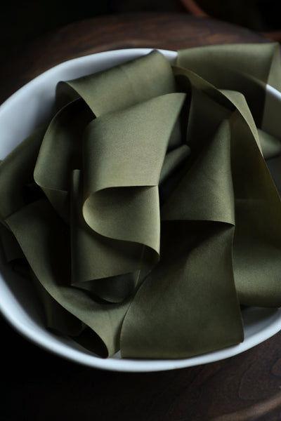 holiday ribbon, green ribbon, Silk & Willow plant dyed silk ribbon