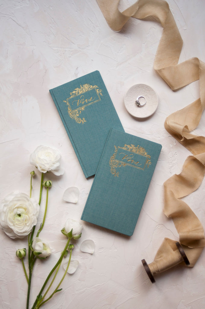 Wedding Vow Books with Gold Foil Press in Linen Cover-Pair of 2