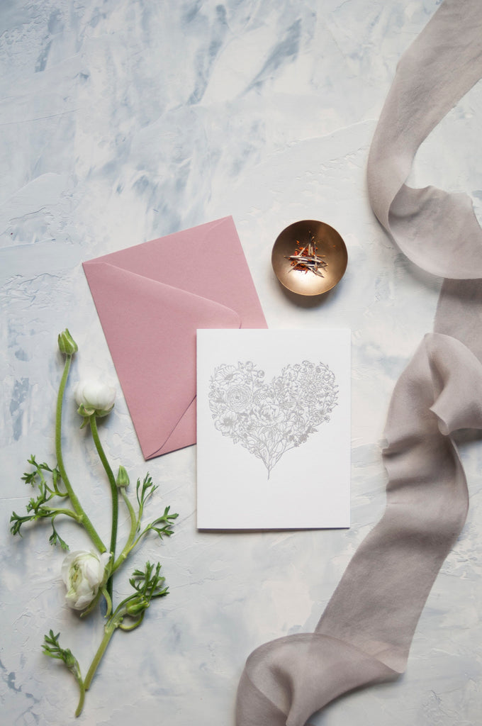 Flower Heart Letterpress Cards {Set of 5 cards}