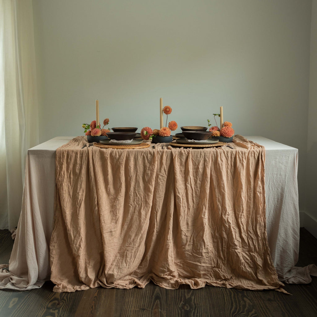 Taupe {Tight Weave Extra-Wide Table Cover}