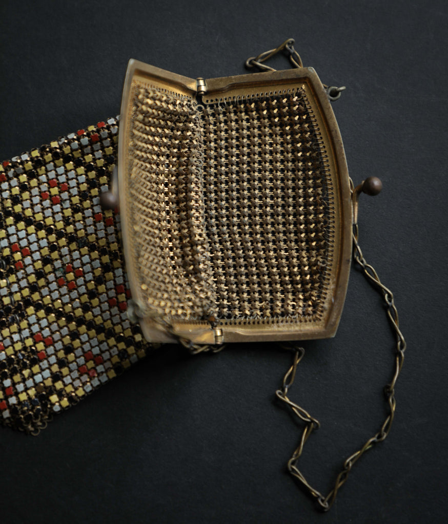 Whiting and Davis enameled Metallic Mesh Purse
