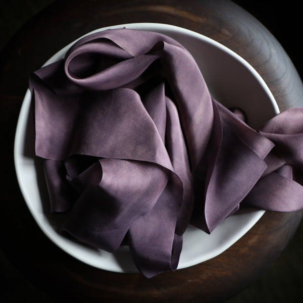 amethyst silk ribbon. plant dyed silk ribbon, Silk & Willow