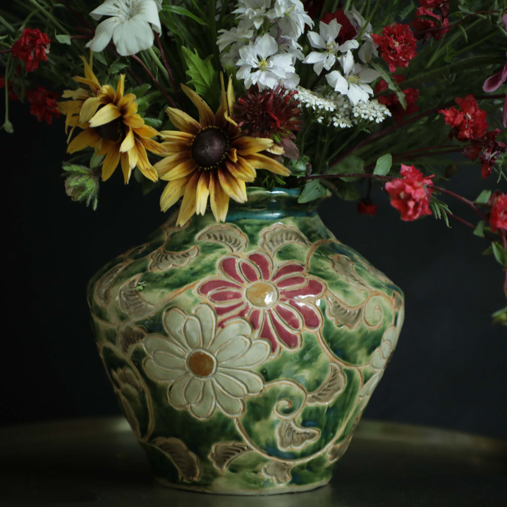 Antique Pottery - Floral Vase