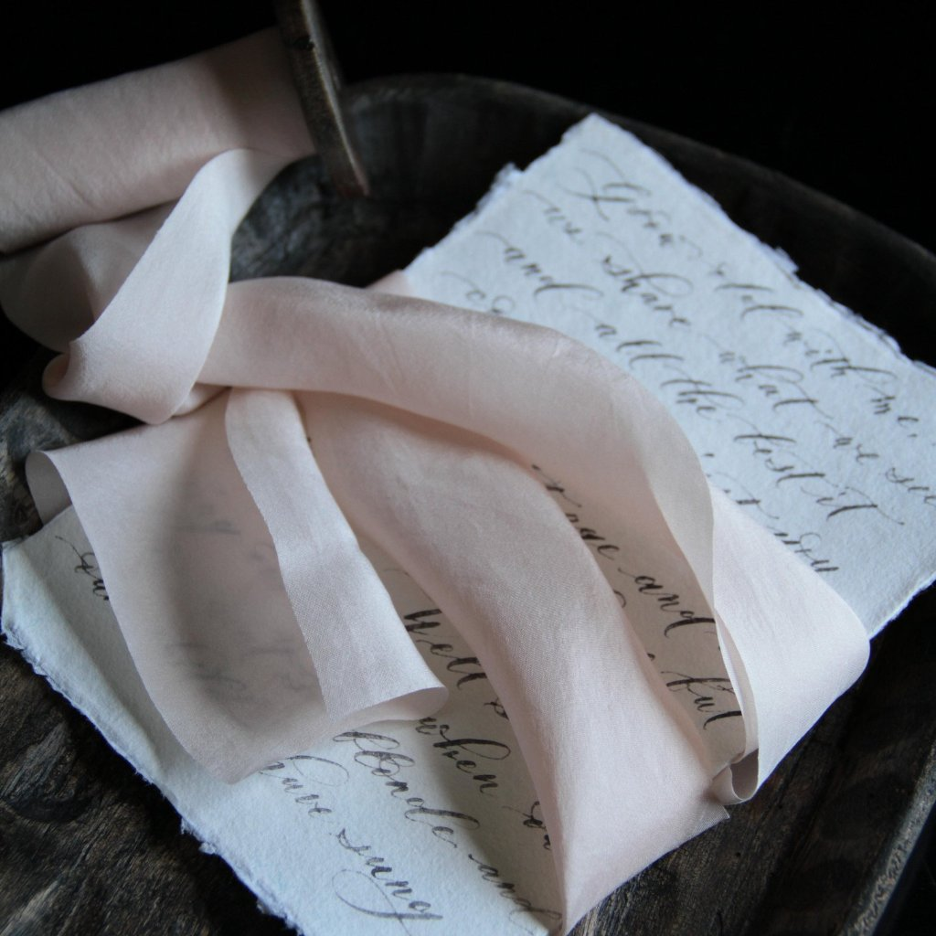 Silk & Willow bouquet silk ribbon. Plant dyed silk ribbon. luxe wedding. Blush, Bespoke Blush.