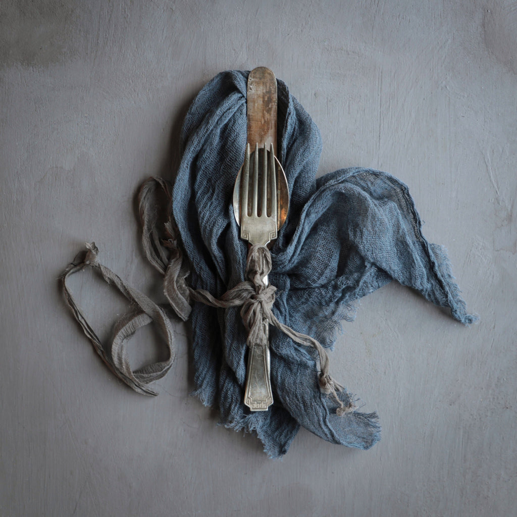 Blue Slate Napkins / Unfinished Edge {Medium Weave}