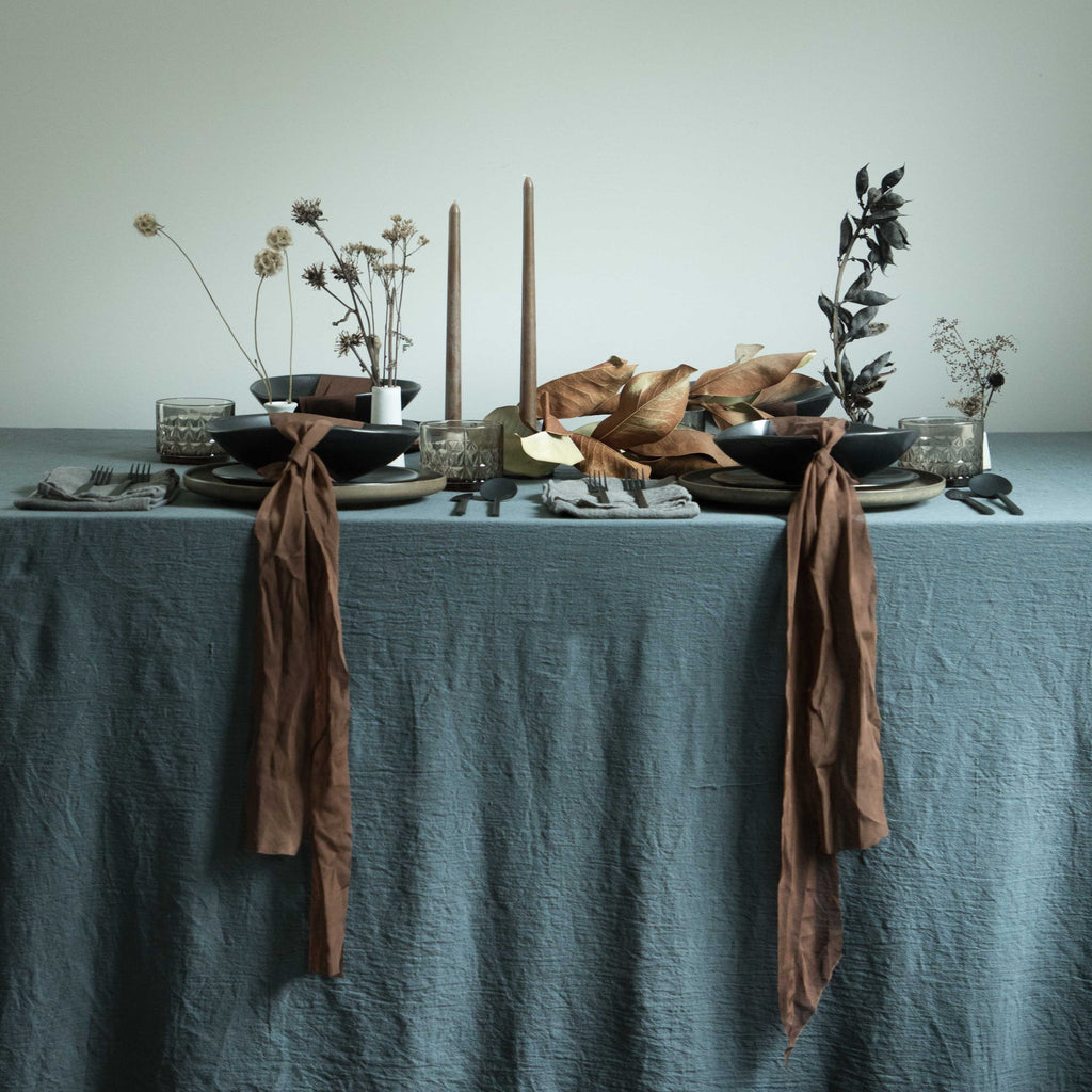 luxury table decor, natural cotton table linens, natural dyed table linens