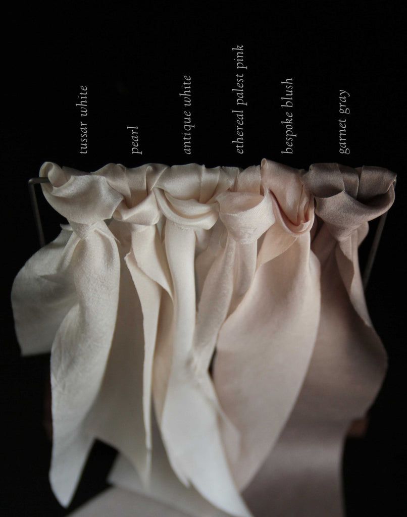 Silk & Willow bouquet silk ribbon. Plant dyed silk ribbon. Blush, Bespoke Blush. Silk Ribbon