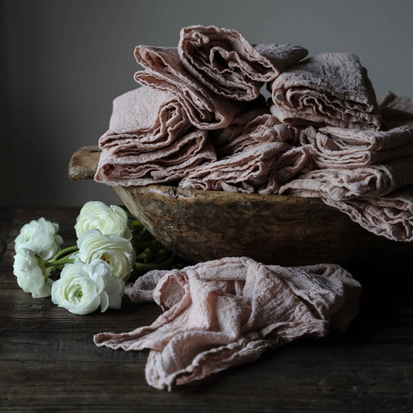 BLUSHING CORAL / Plant Dyed Napkins {Finished Edges}