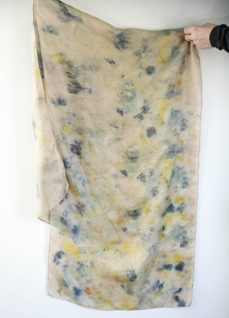 eco-print silk scarf, slow fashion, naturally dyed scarf, sustainable fashion, silk and willow