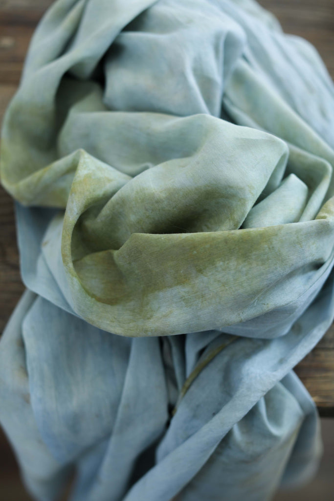 Botanical Print Indigo All-Season / Organic Silk + Cotton Wrap
