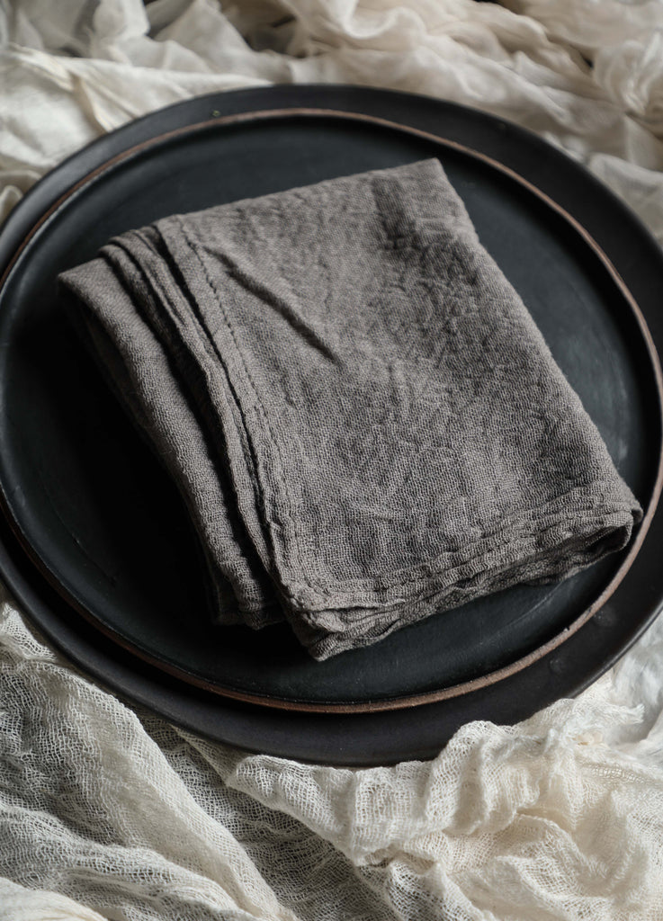 Charcoal Napkins / Finished Edge {Tight Weave}