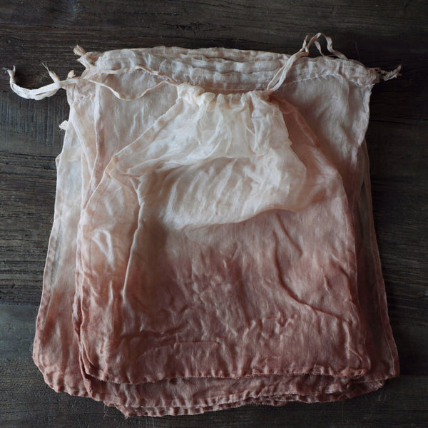 Dip Dyed {Copper Coral} Organic Organza Silk Bags
